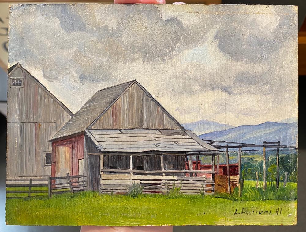 LUIGI LUCIONI, (American, 1900-1988), Landscape with Barn, 1941, oil on masonite, 5 x 6 in., frame: 7 1/2 x 9 in.