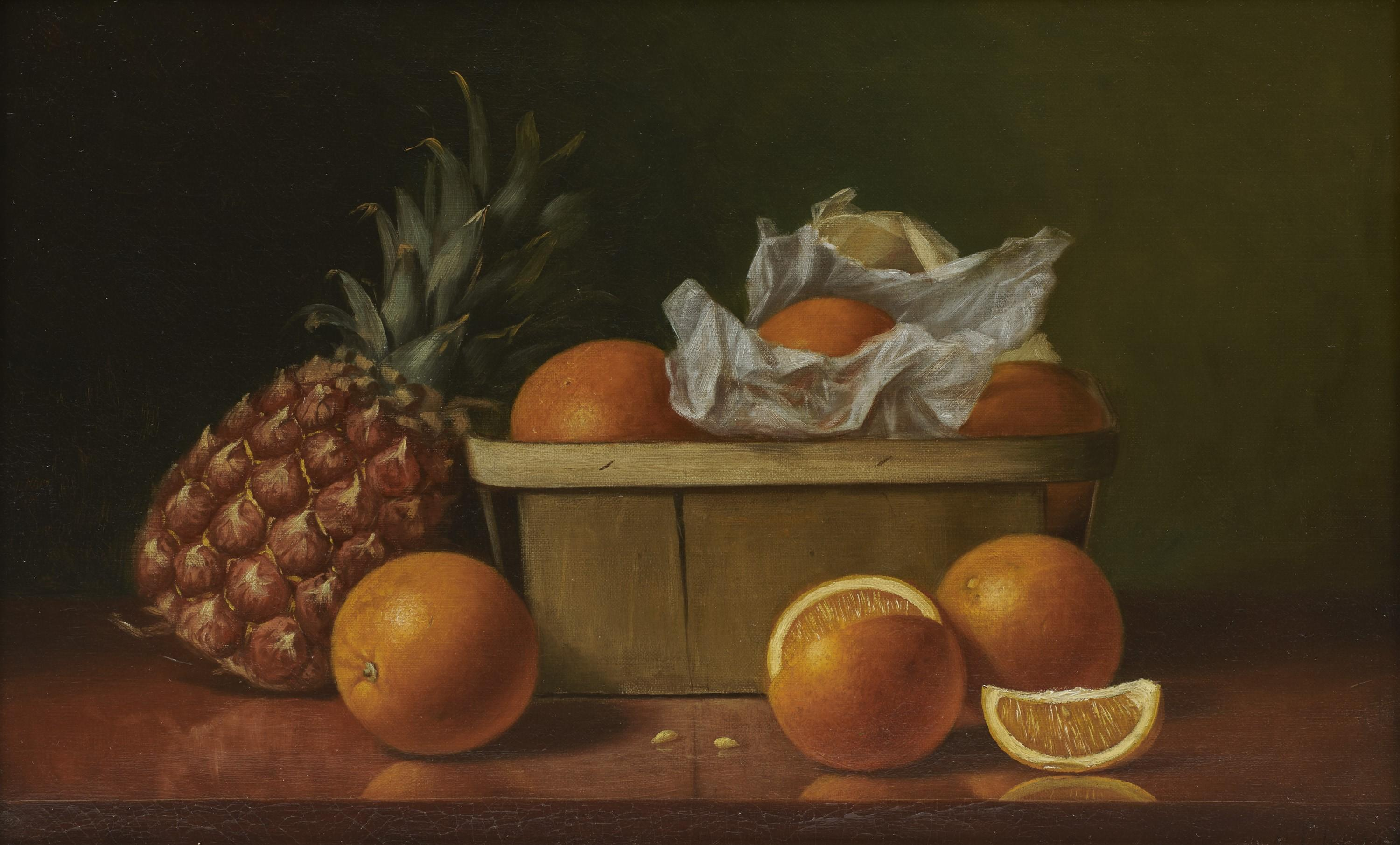 ALBERT FRANCIS KING, (American, 1854-1945), Still Life with Oranges and Pineapple, oil on canvas, 14 x 22 in., frame: 20 x 28 in.