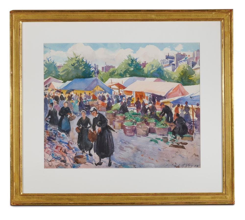 AIDEN LASSELL RIPLEY, (American, 1896-1969), Dutch Market, 1928, waterclor, sight: 15 1/2 x 19 1/2 in., frame: 24 x 28 in.