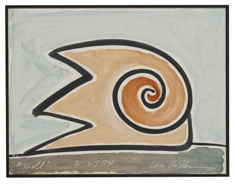 ERIC HOPKINS, (American, b. 1951), Two Shells, 1984, gouache and oil on card