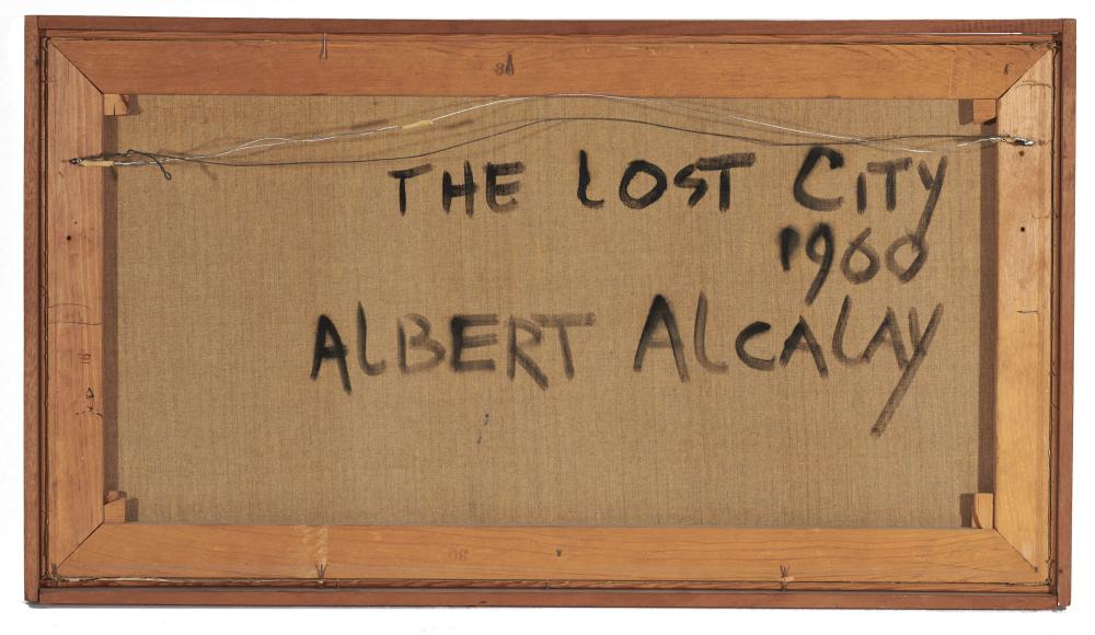 ALBERT ALCALAY, (American, 1917-2008), The Lost City, 1960, oil on canvas, 16 x 30 in., frame: 17 1/2 x 31 1/2 in.