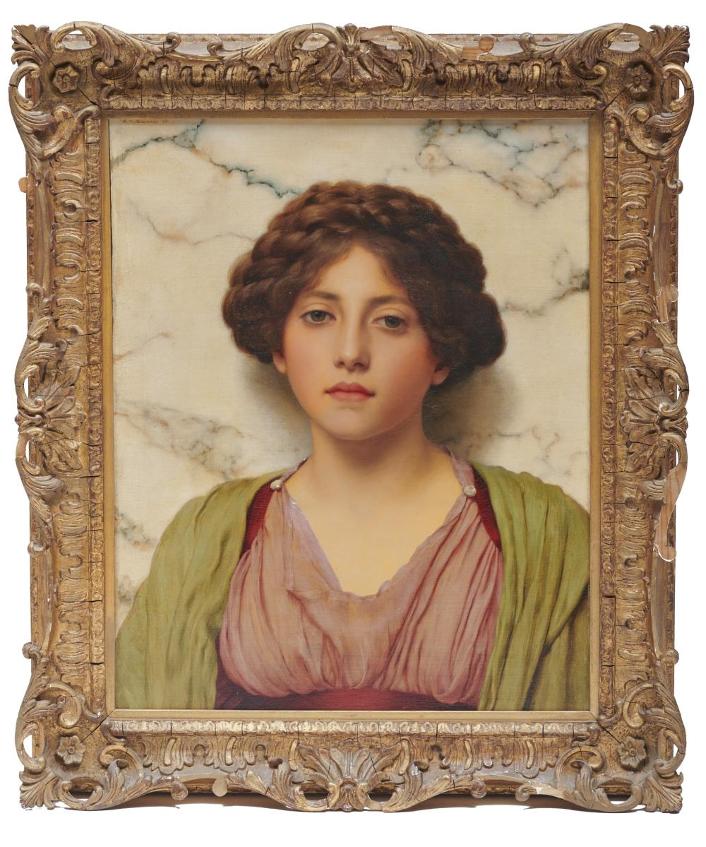 JOHN WILLIAM GODWARD, (English, 1861-1922), Classical Beauty, 1909, oil on canvas, 20 x 16 in., frame: 24 x 20 in.