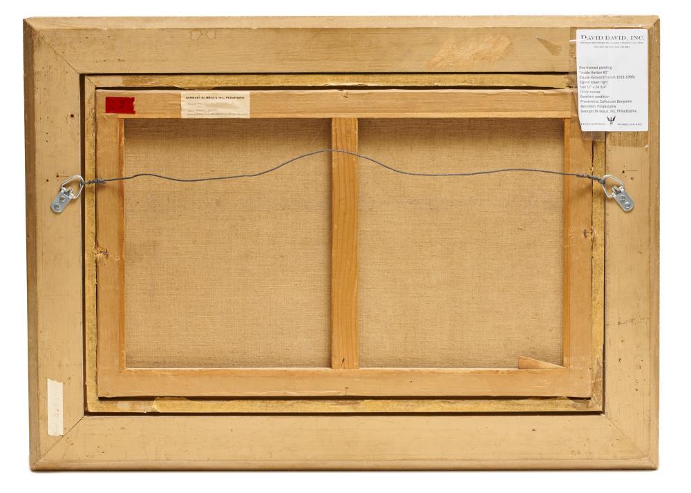 CLAUDE VENARD, (French, 1913-1999), Inside Harbor #1, oil on canvas, 15 x 24 1/4 in., frame: 22 1/2 x 31 1/4 in.