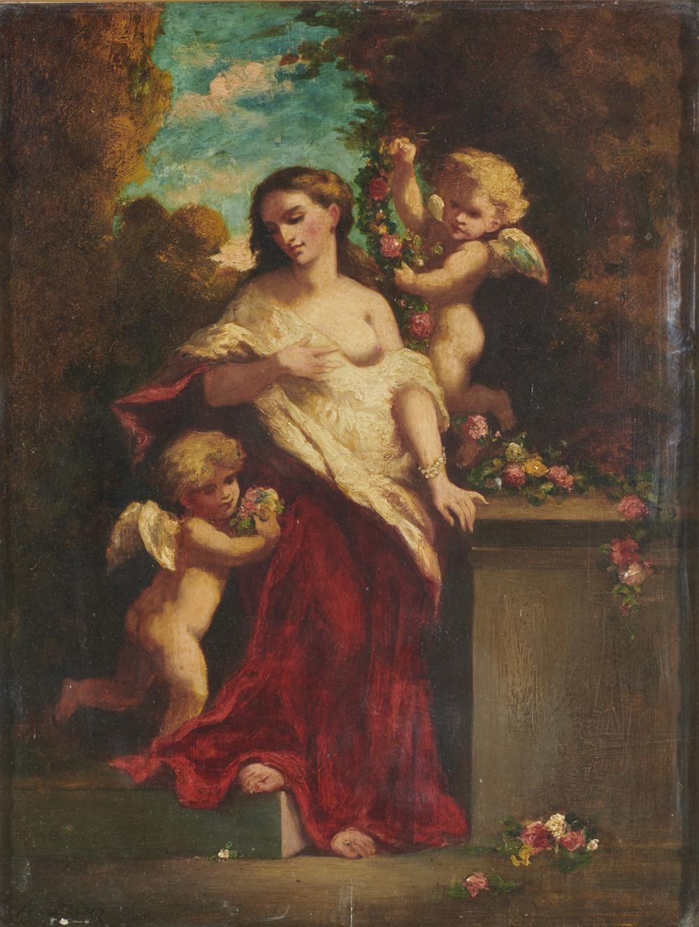 NARCISSE VIRGILE DIAZ de la PENA, (French, 1808-1876), Woman with Putti, oil on panel, 13 1/2 x 10 1/4 in., frame: 22 1/2 x 19 1/2 in.