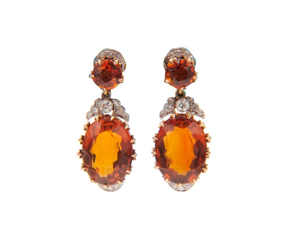 Platinum, 14K Gold, Citrine, and Diamond Pendant Earrings