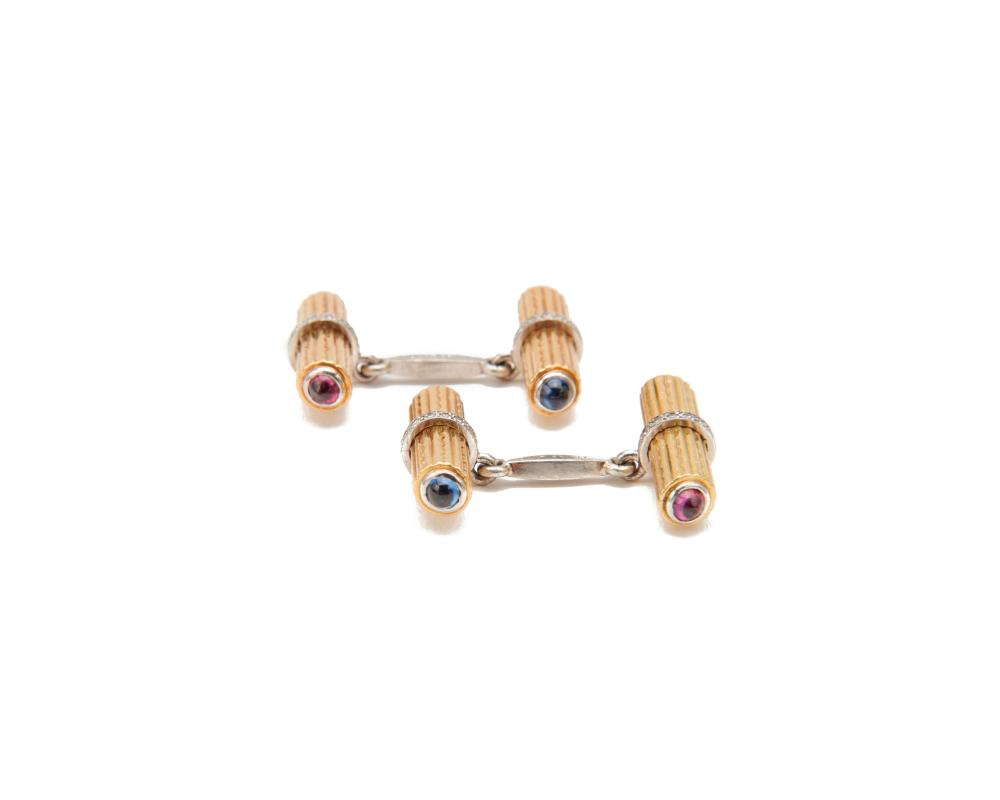 CARTIER 18K Gold, Platinum, Diamond, Sapphire, and Ruby Cufflinks
