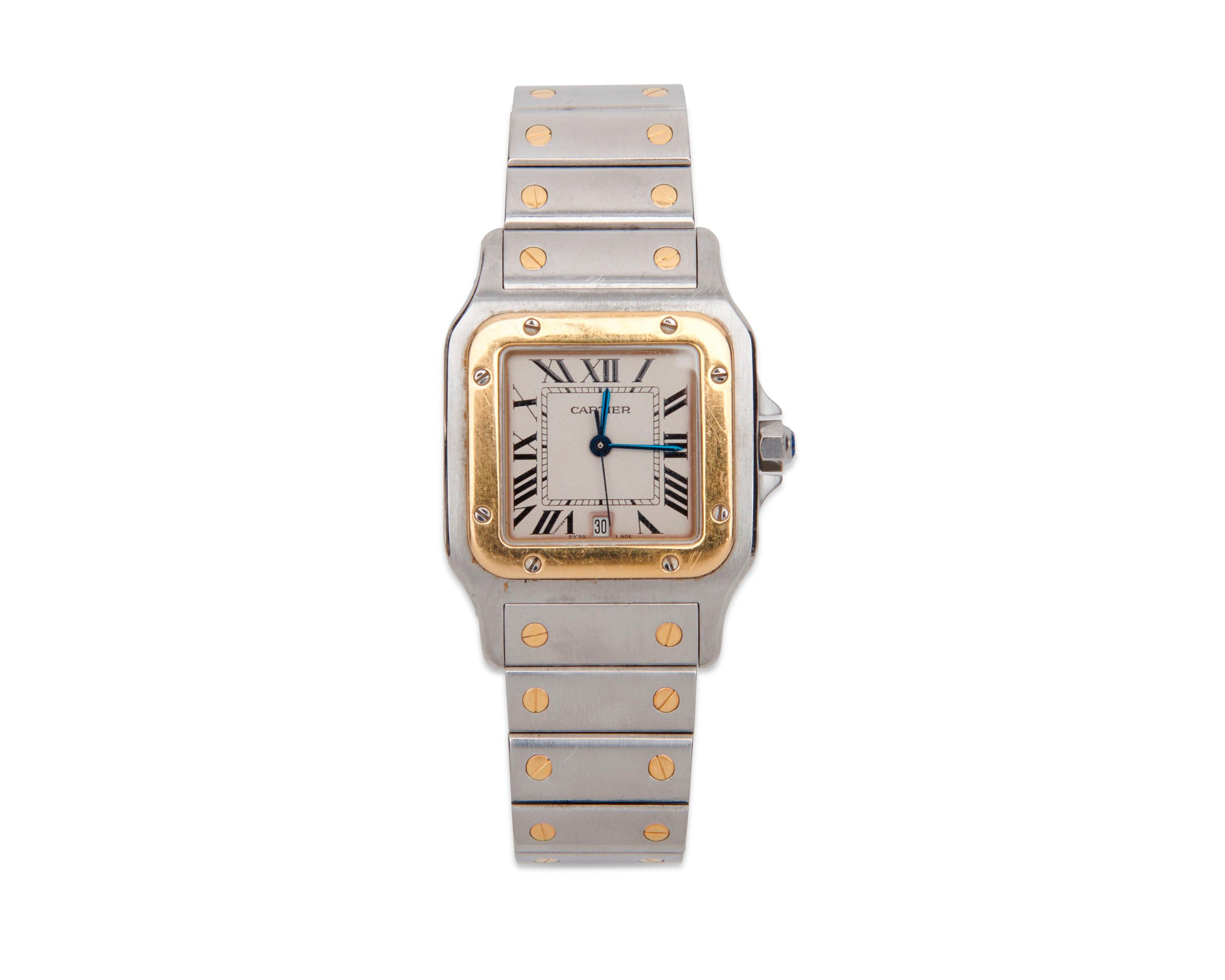 """CARTIER Stainless Steel and 18K Gold """"Santos Galbee"""" Wristwatch"""