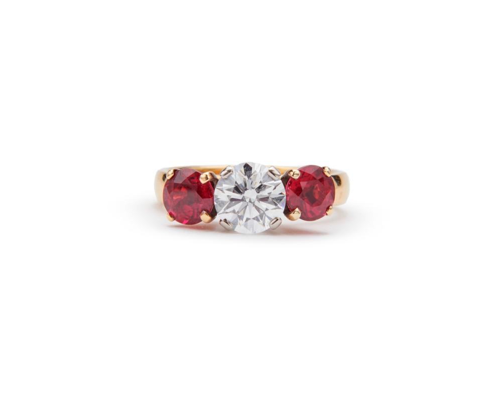18K Gold, Ruby, and Diamond Ring