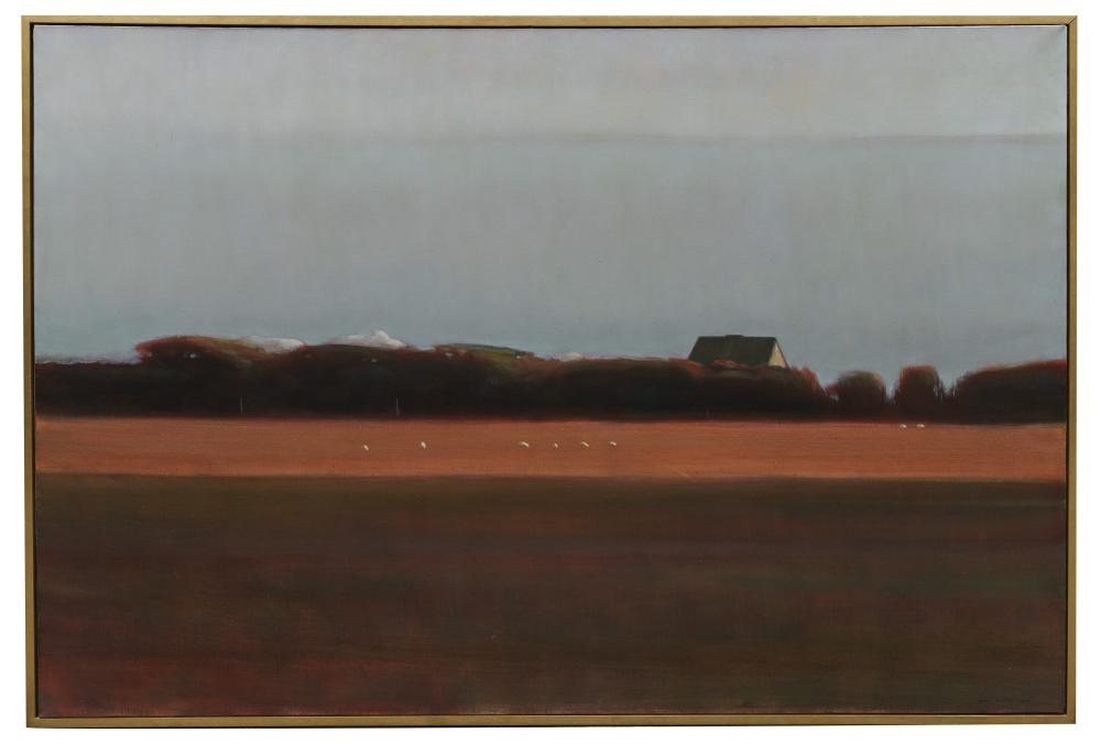 ALLEN WHITING, (American, b. 1946), Sheep on Whiting Farm, Martha''s Vineyard, 1986, oil on canvas, 48 x 72 in., frame: 50 x 74 in.