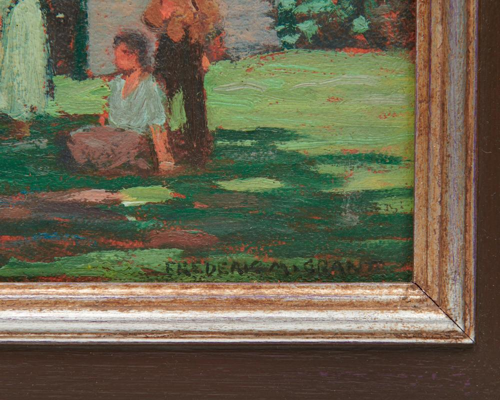 FREDERICK MILTON GRANT, (American, 1886-1959), Under the Trees, two works, each oil on board, each 10 3/4 x 10 3/4 in., frame: 16 1/2 x 16 1/2 in.