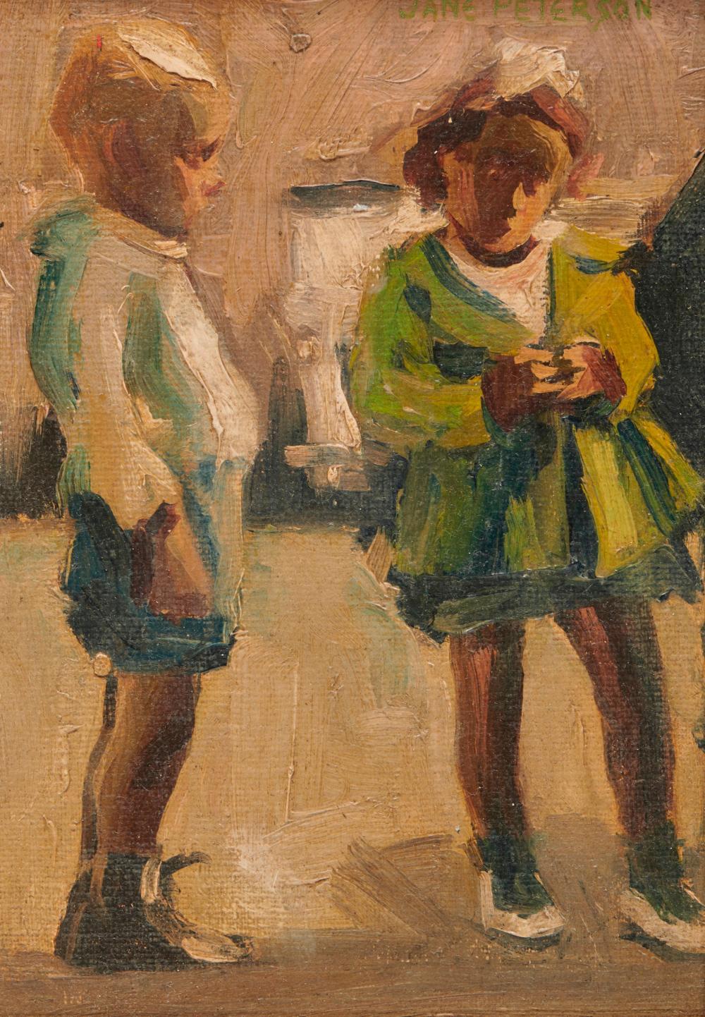 JANE PETERSON, (American, 1876-1965), Two Children, oil on canvasboard, 8 1/2 x 6 in., frame: 14 1/2 x 12 in.