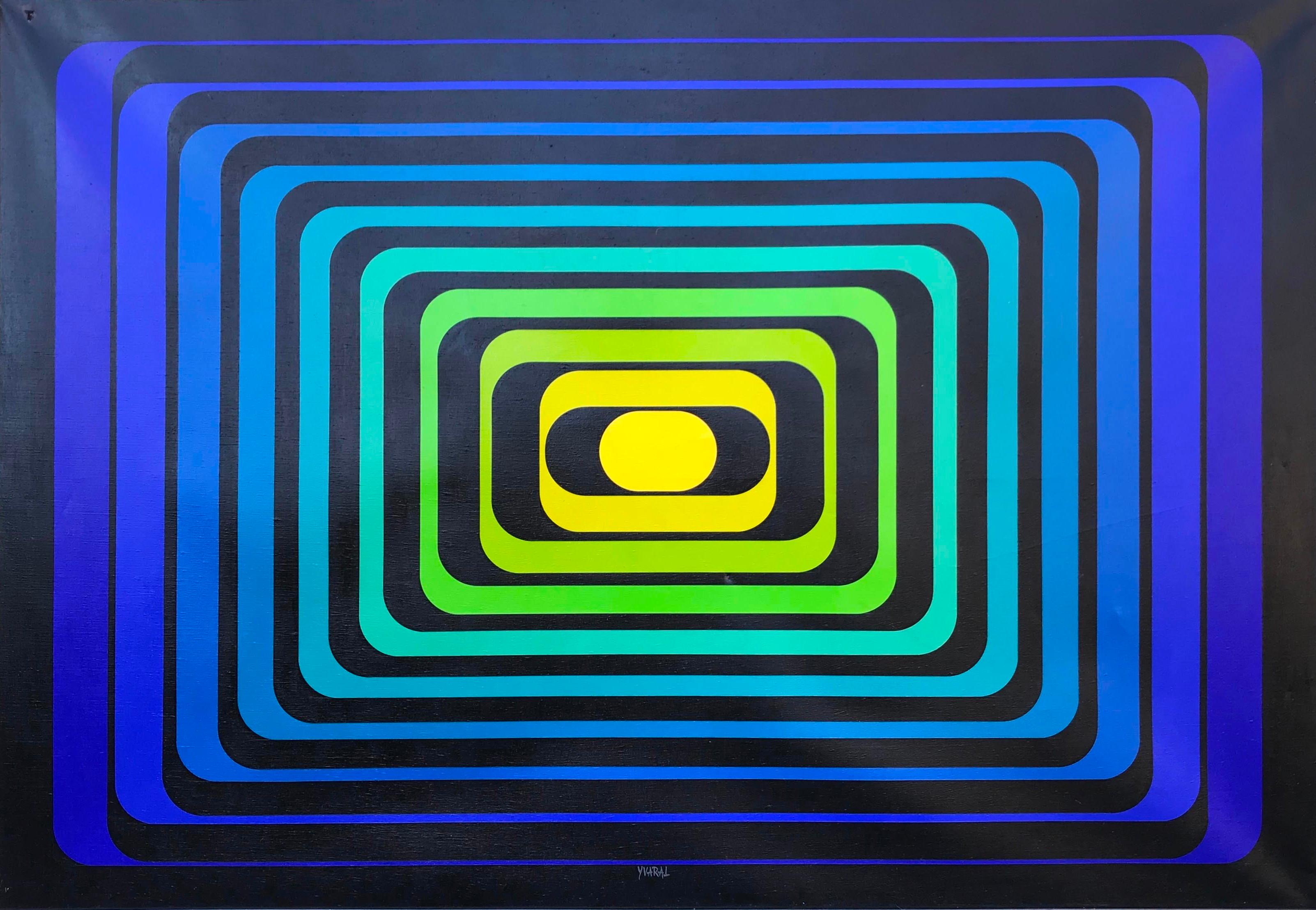 JEAN-PIERRE YVARAL, (French, 1934-2002), Progression Polychrome B, 1971, acrylic on canvas, 43 1/2 x 63 in., frame: 44 x 63 1/2 in.