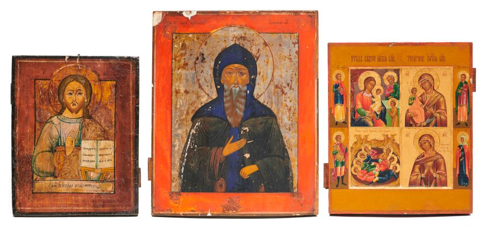 Three Religious Icons, Greek or Russian