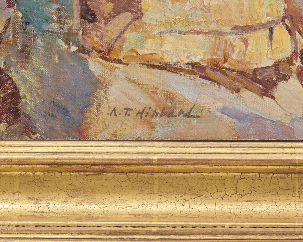 ALDRO THOMPSON HIBBARD, (American, 1886-1972), Carmel Coast, oil on canvas on board, 14 x 18 in., frame: 21 1/2 x 25 1/4 in.