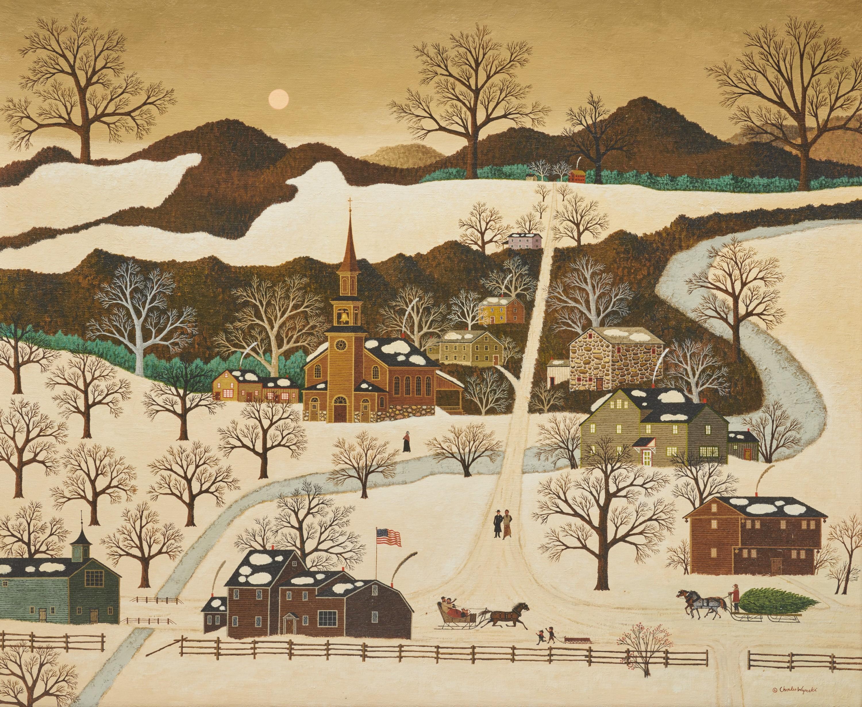 CHARLES WYSOCKI, (American, 1928-2002), Connecticut Snowscape, oil on canvas, 30 x 36 in., frame: 37 x 43 in.