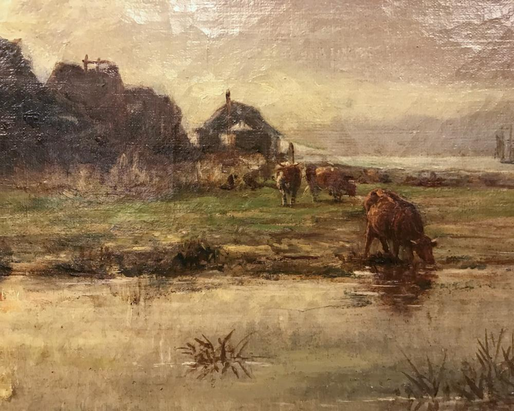 CHARLES FRANCOIS DAUBIGNY, (French, 1817-1878), Pastoral View, oil on canvas, 15 x 24 in. frame: 22 1/2 x 31 1/2 in.