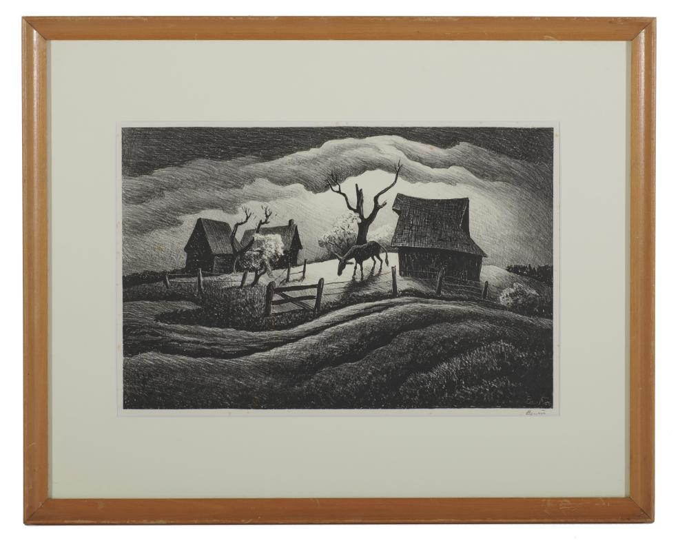 THOMAS HART BENTON, (American, 1889-1975), Rainy Day, lithograph, plate: 8 3/4 x 13 1/4 in.,f rame: 15 1/2 x 19 1/2 in.