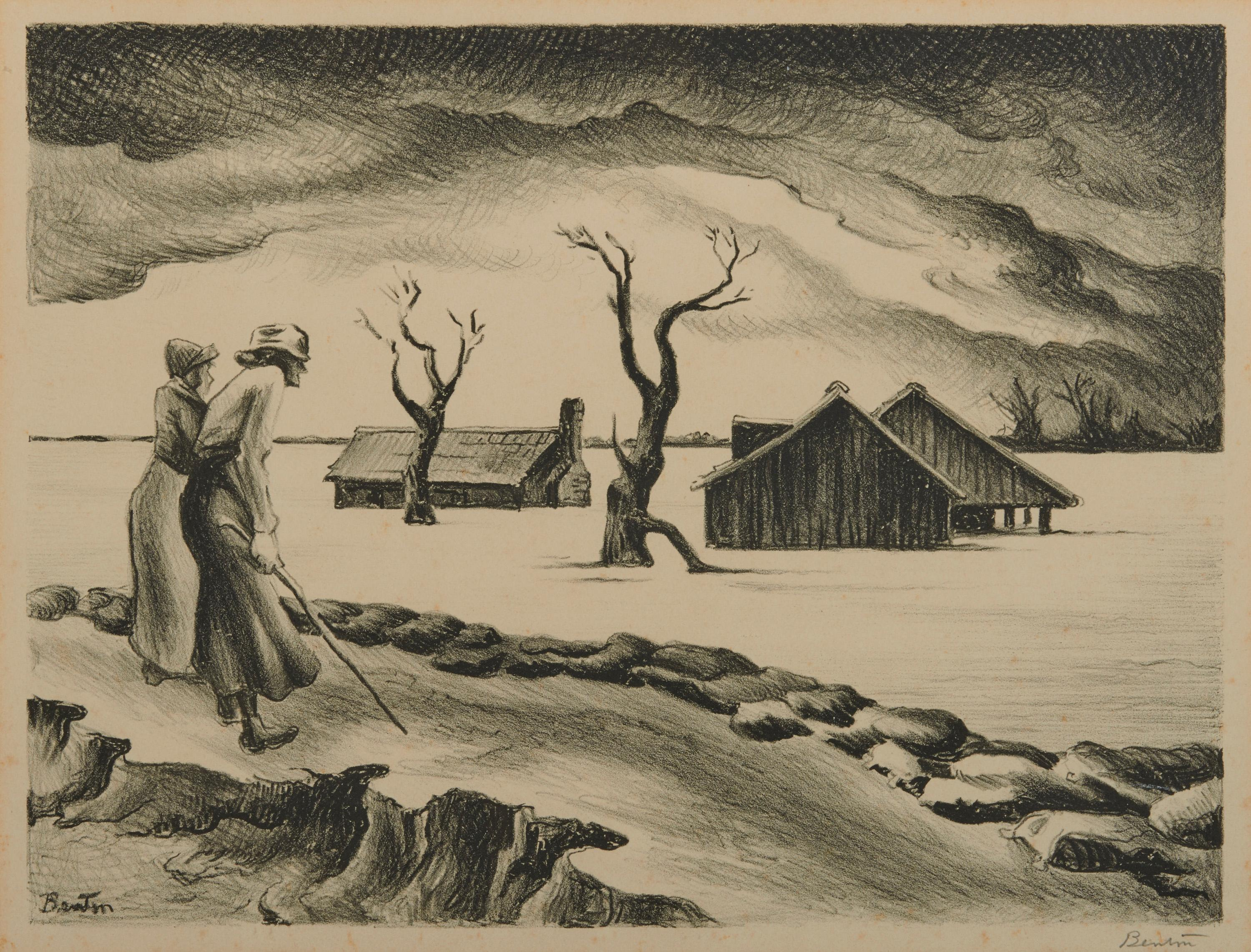THOMAS HART BENTON, (American, 1889-1975), Flood, lithograph, plate: 9 1/8 x 12 1/8 in., frame: 18 1/4 x 21 3/4 in.