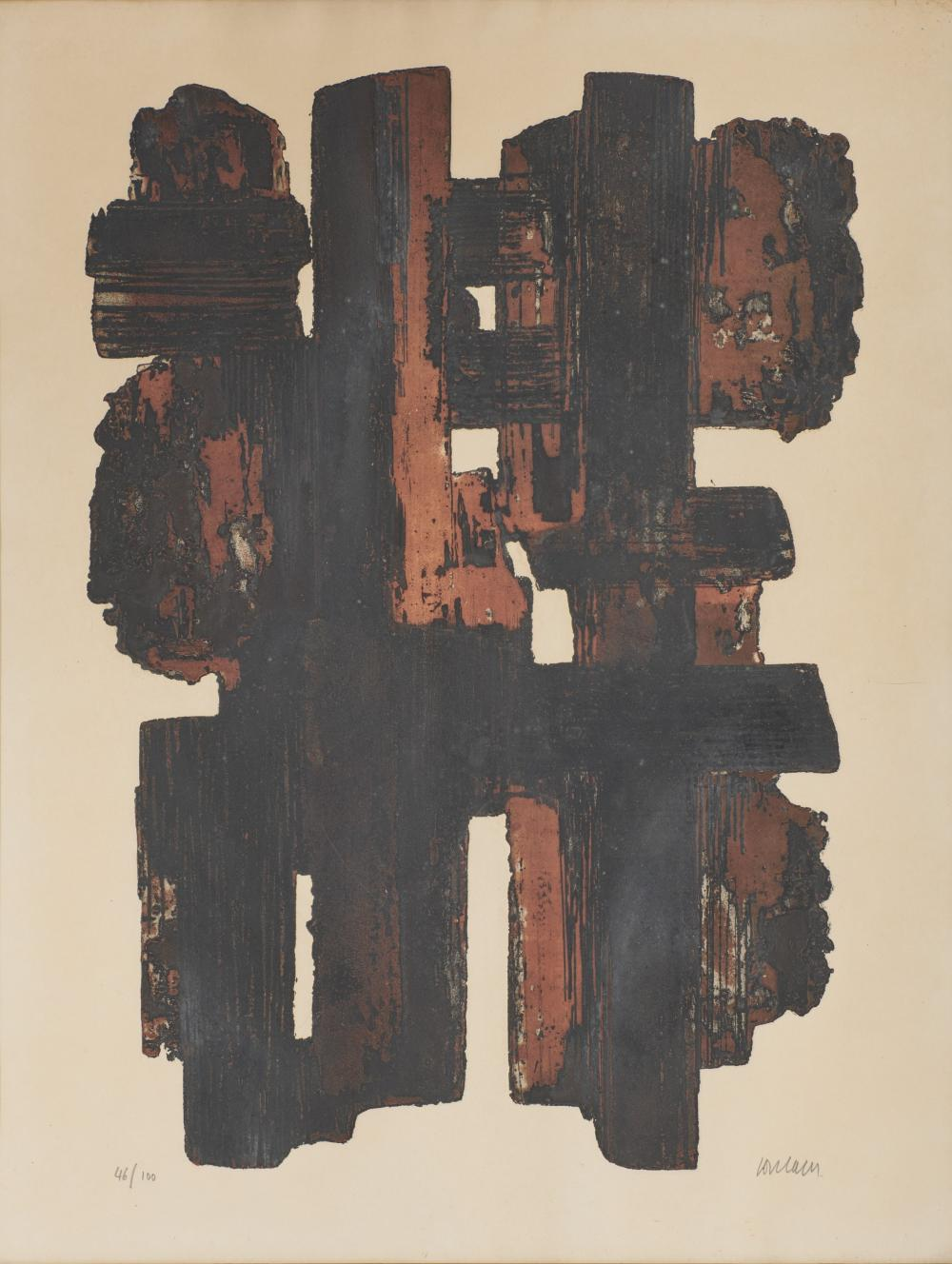 PIERRE SOULAGES, (French, b. 1919), Eau-Forte IX, color etching, sight: 24 1/2 x 19 in., frame: 27 3/4 x 22 in.