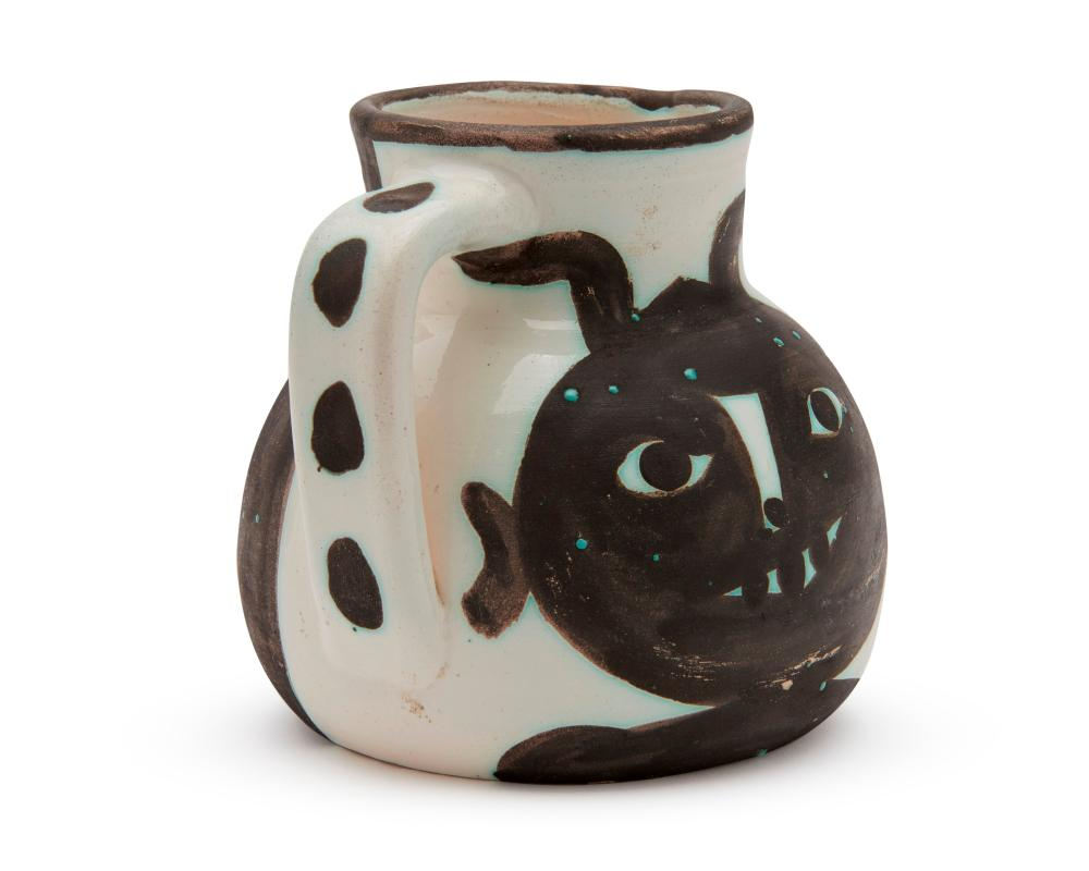 PABLO PICASSO, (Spanish, 1881-1973), Tetes (A.R. 367), white earthenware ceramic with white glaze and black oxide, height: 5 1/4 in.