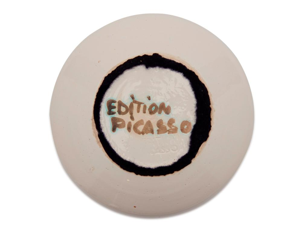 PABLO PICASSO, (Spanish, 1881-1973), Oiseau sur la branche (A.R. 175), white earthenware ceramic with white glaze and black oxide, diameter: 6 1/2 in.