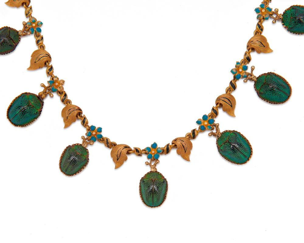 18K Gold, Beetle Carapace, and Enamel Necklace