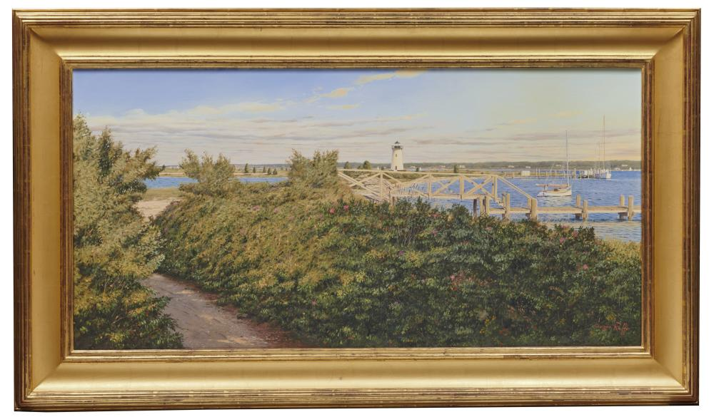 SERGIO ROFFO, (American, b. 1953), Path to Edgartown Light, oil on canvas, 34 x 48 in., frame: 33 1/2 x 57 1/2 in.