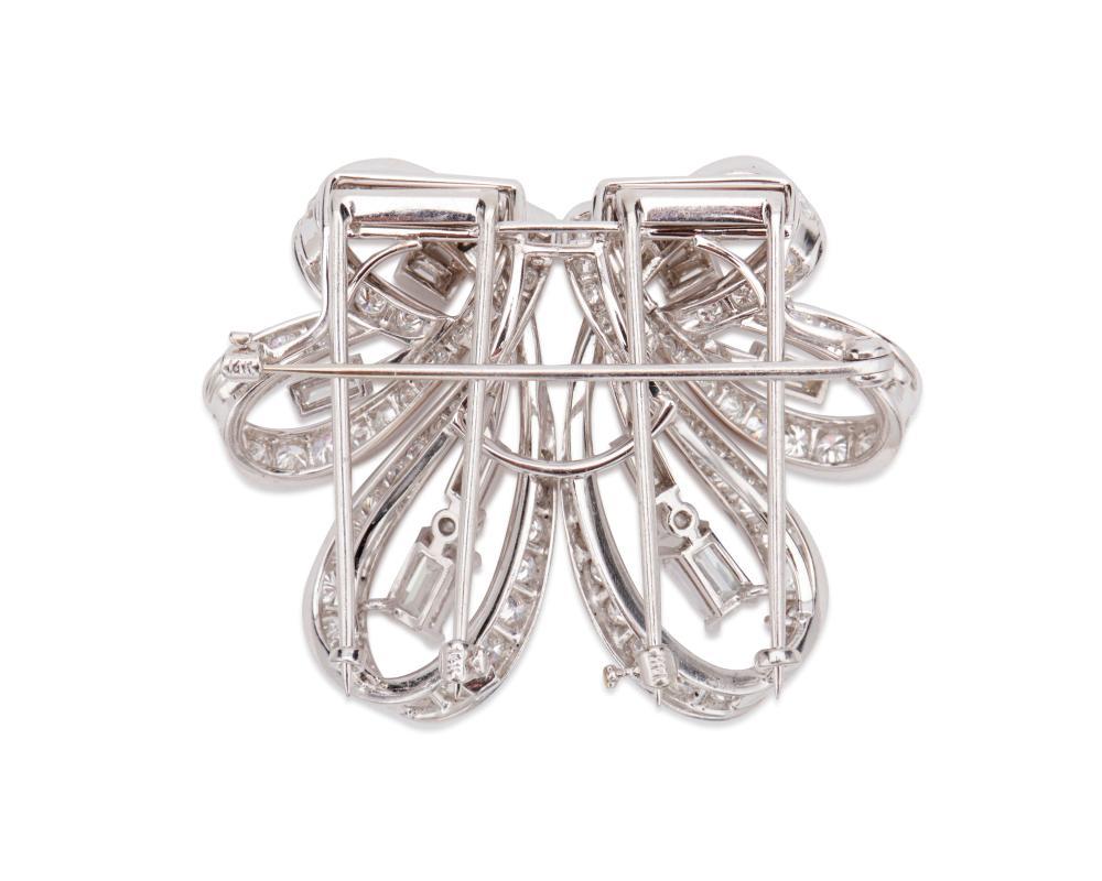 Platinum and Diamond Dress Clips/Brooch
