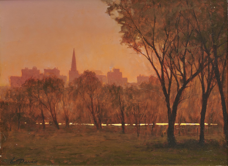 WILLIAM R. DAVIS, (American, b. 1952), Boston Common Sunset, 2003, oil on panel, 12 x 15 3/4 in., frame: 21 3/4 x 25 3/4 in.