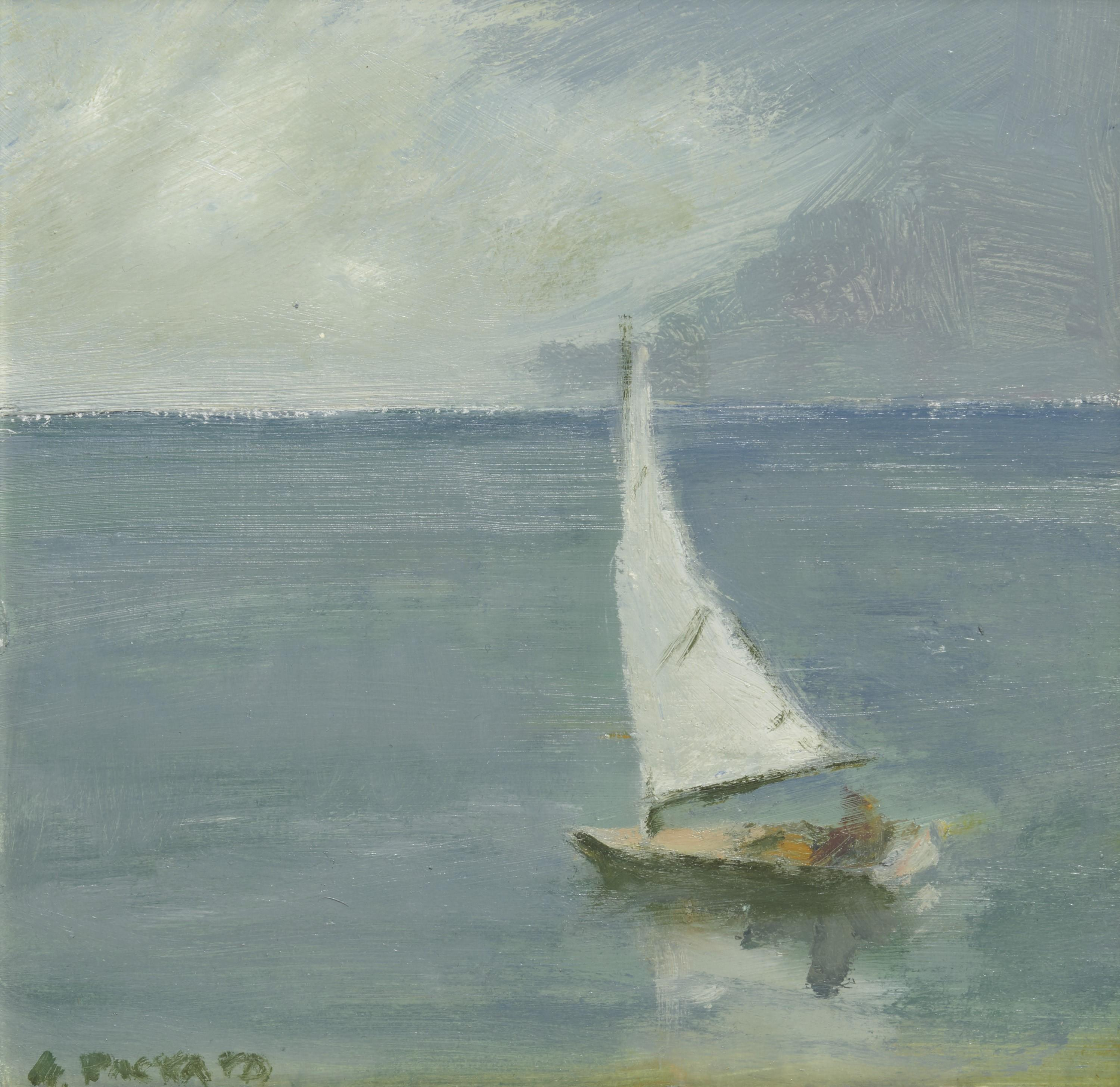 ANNE PACKARD, (American, b. 1933), Heading Out, oil on board, 8 x 8 in., frame: 10 3/4 x 10 3/4 in.