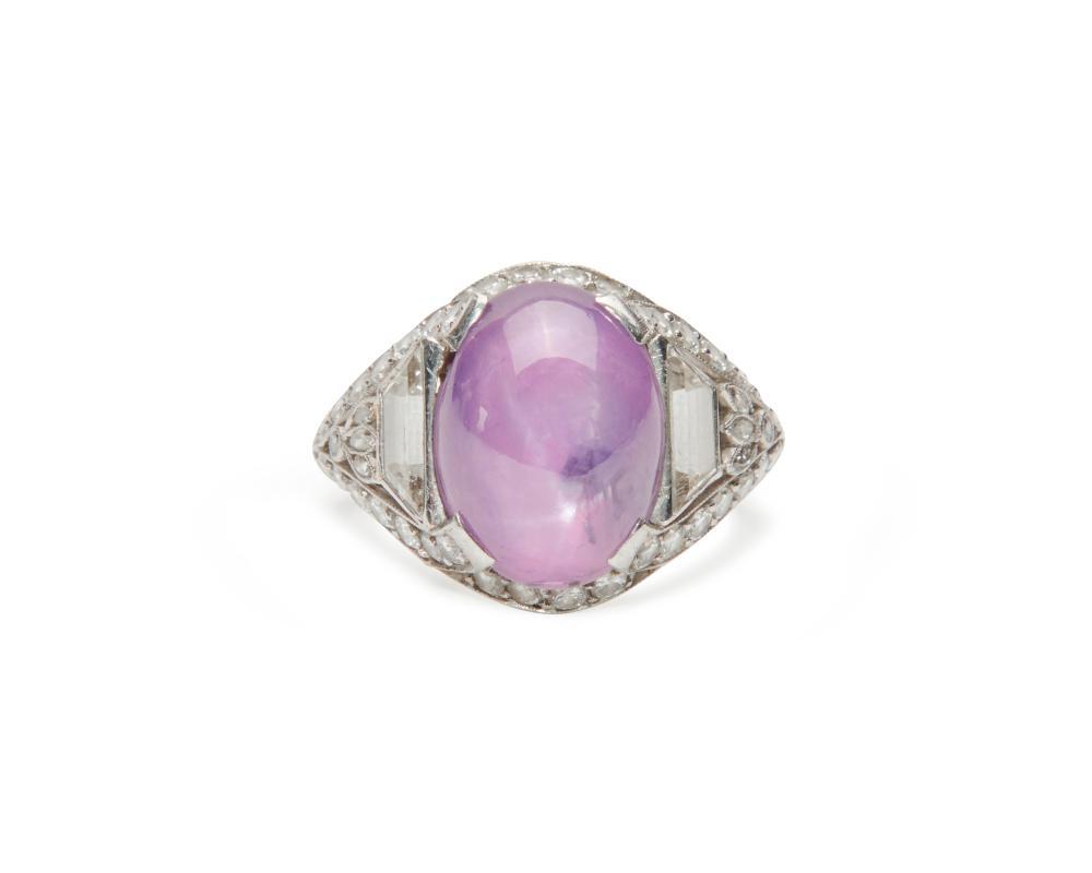 Platinum, Star Fancy Sapphire, and Diamond Ring
