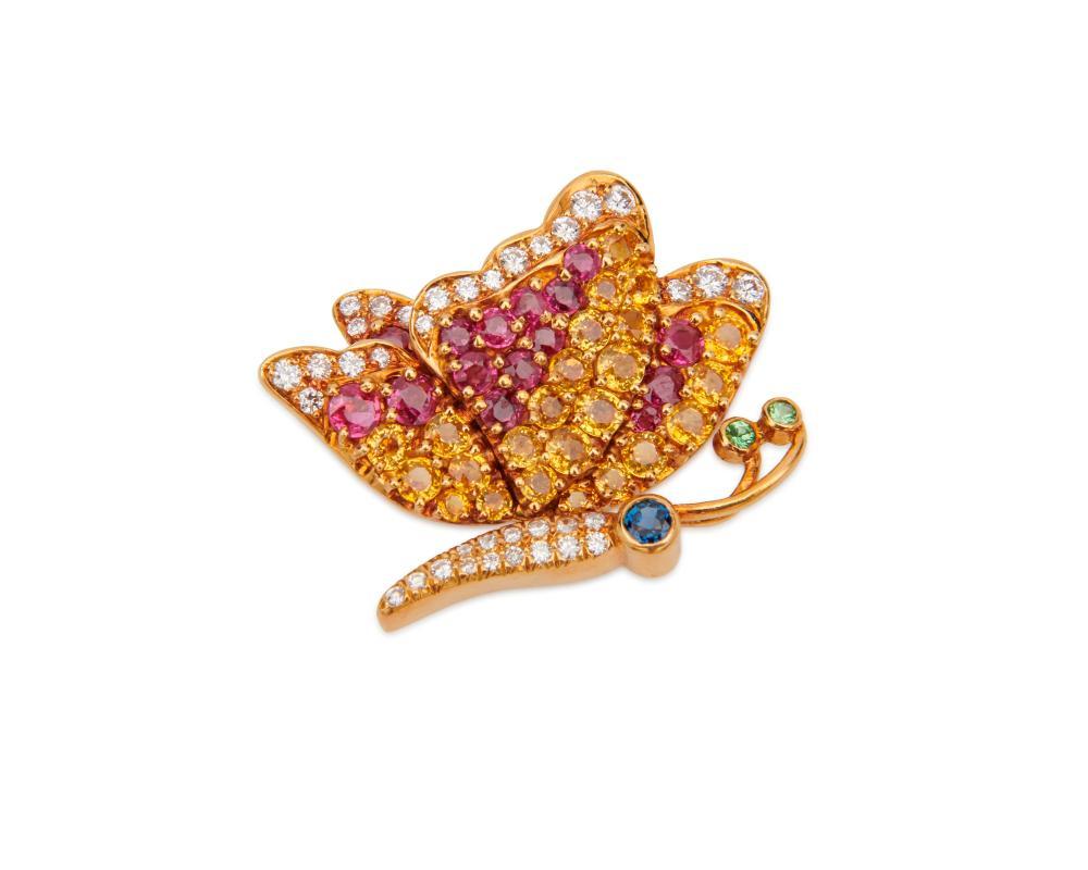 JEAN VITAU 18K Gold, Diamond, and Gemset Butterfly Brooch