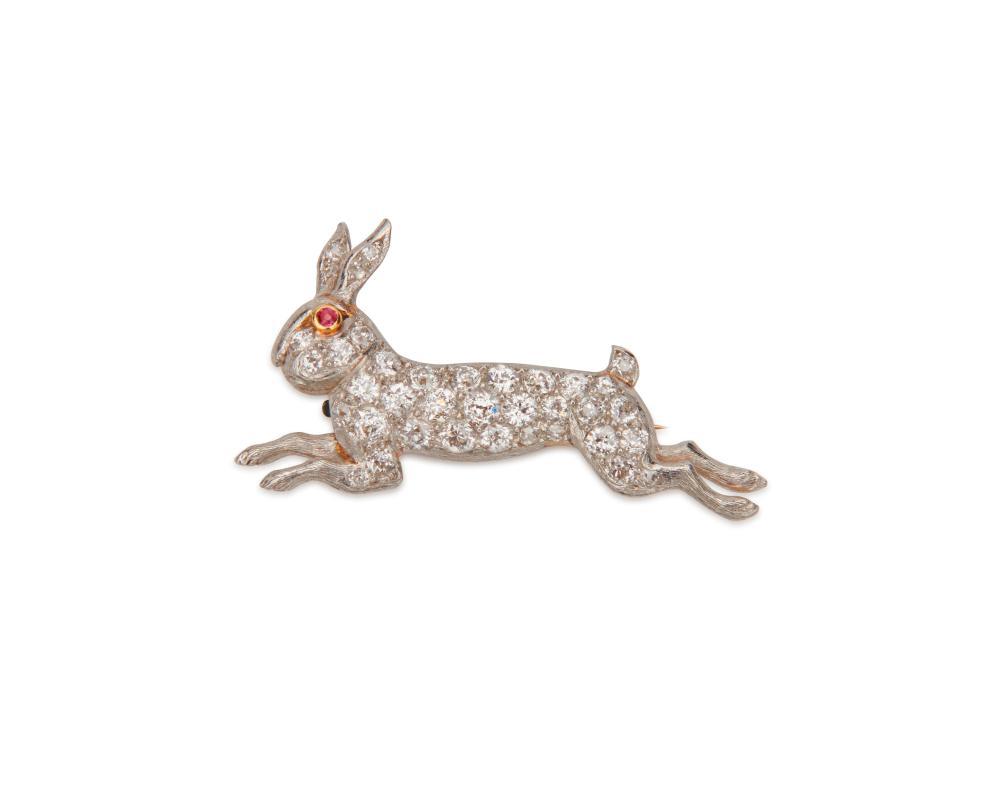 MARCUS & CO. 14K Gold, Platinum, and Diamond Rabbit Brooch