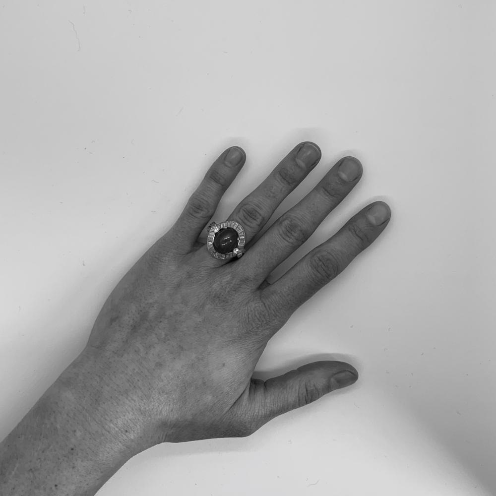 Platinum, Ruby, and Diamond Ring