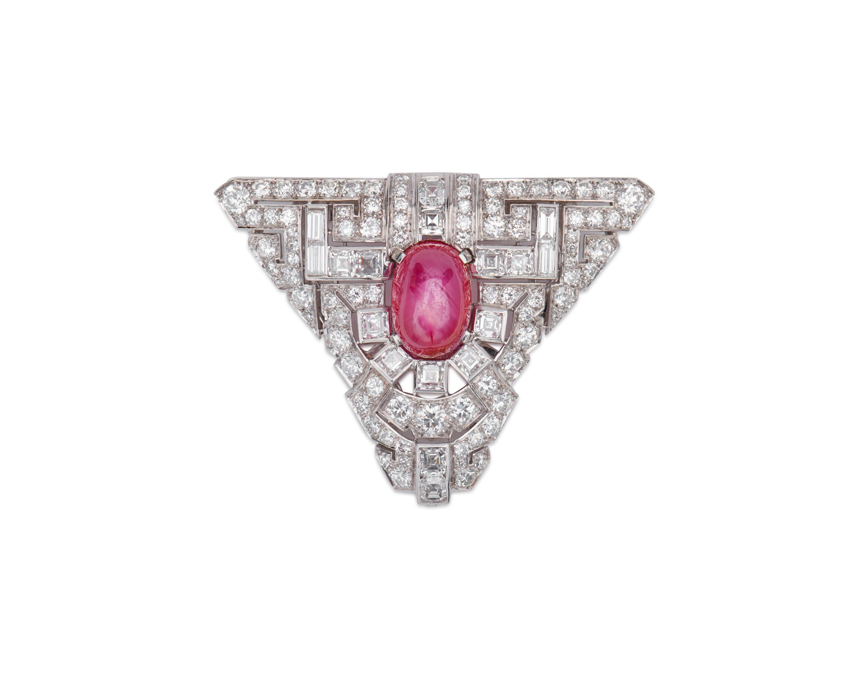Platinum, Ruby, and Diamond Dress Clip