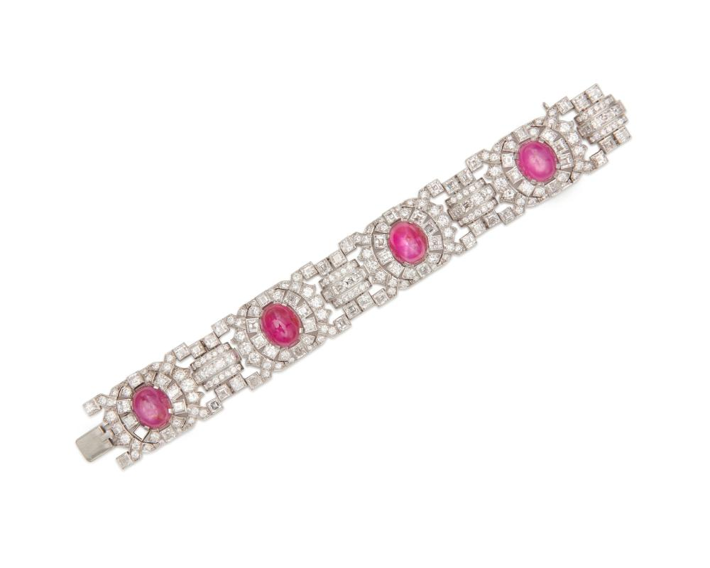 Platinum, Ruby, and Diamond Bracelet