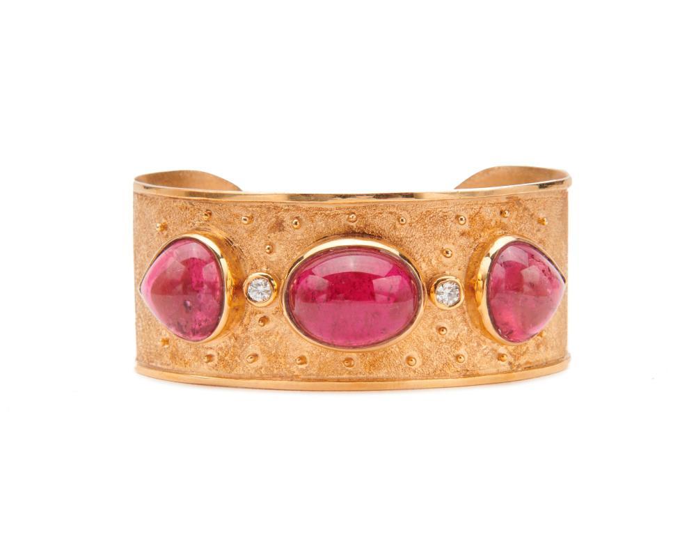 14K Gold, Rubellite, and Diamond Bracelet