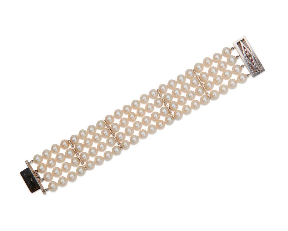 14K Gold, Pearl, Diamond, and Ruby Bracelet