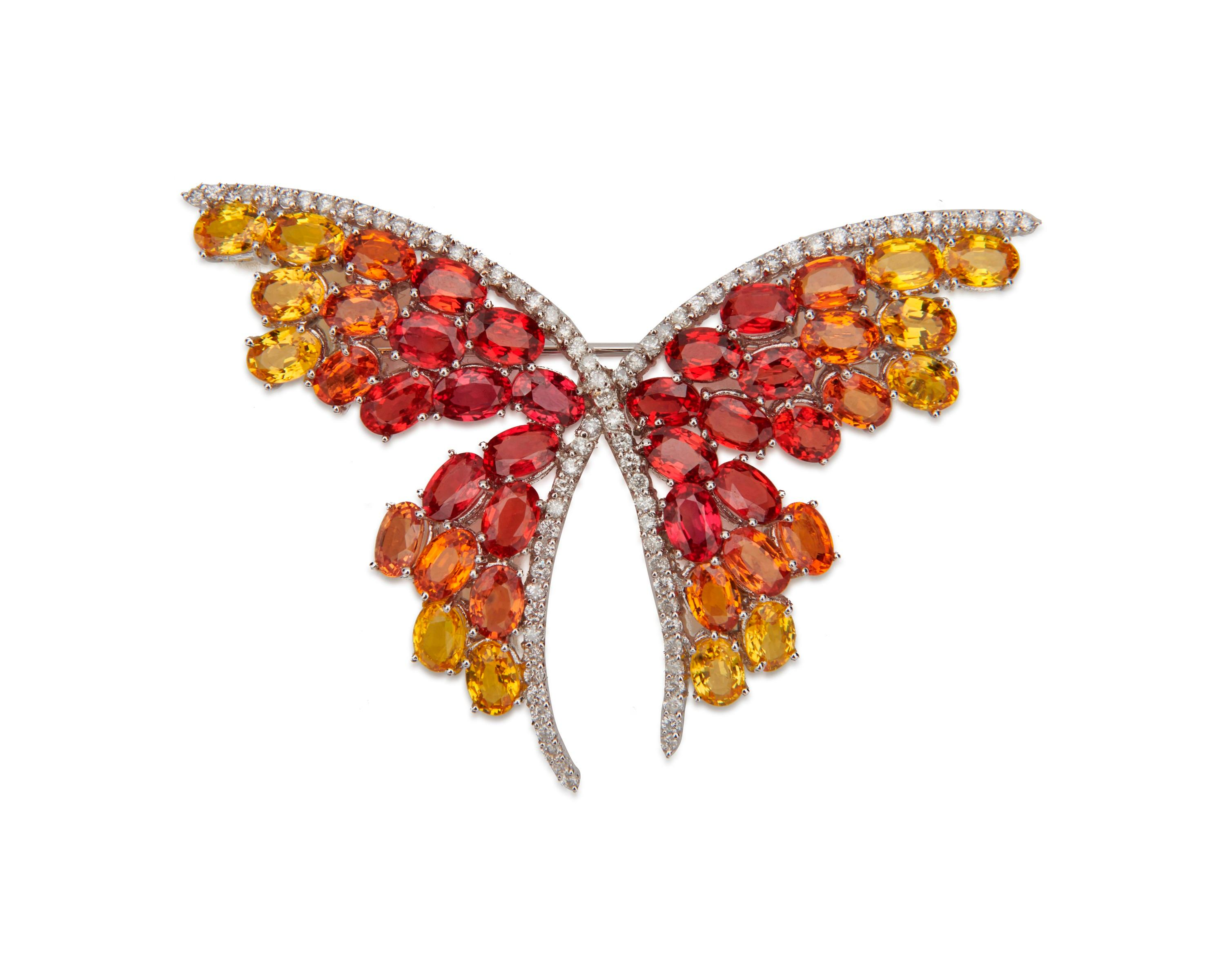 18K Gold, Diamond, Sapphire, and Ruby Brooch