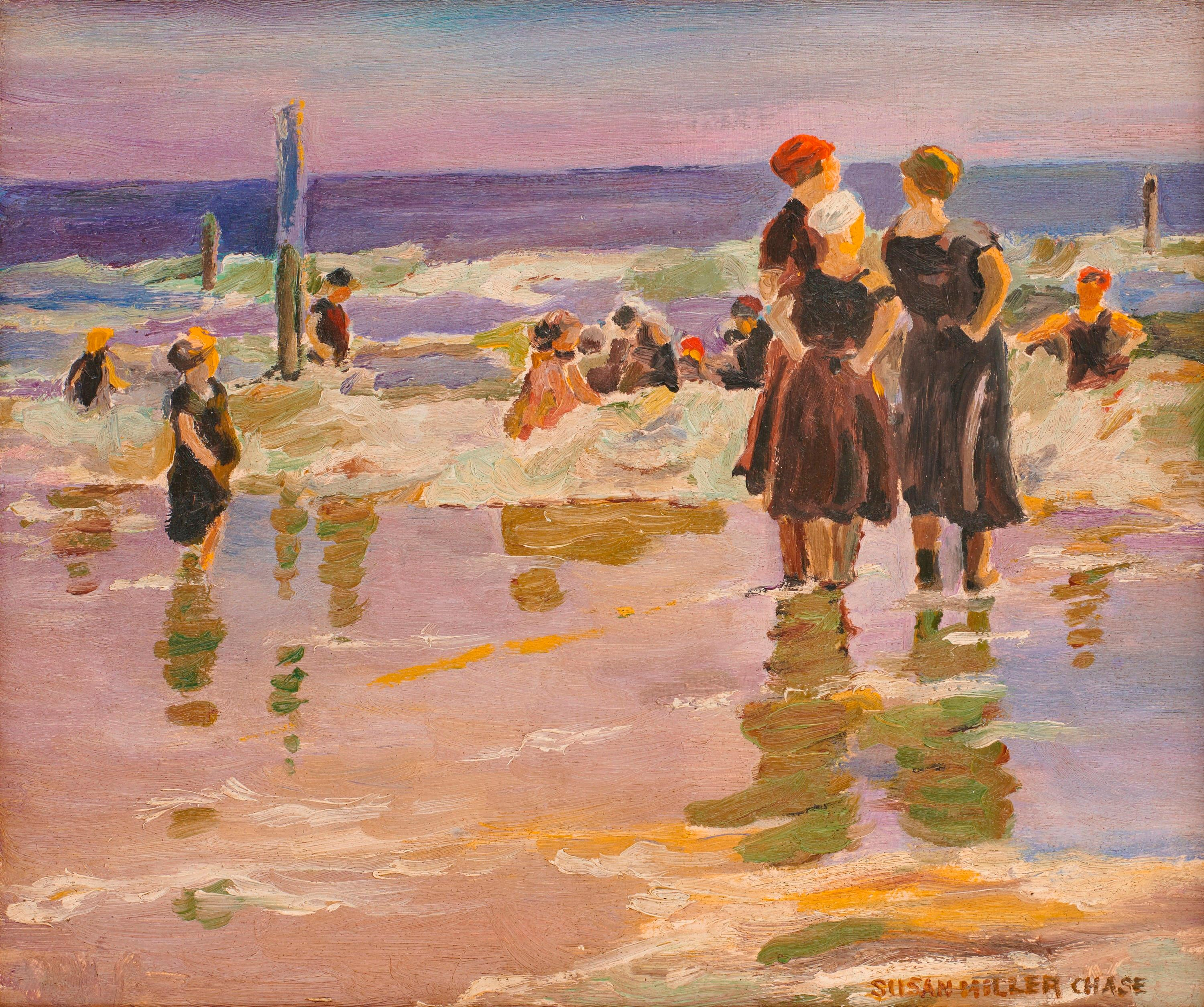 SUSAN MILLER CHASE, (American 1868-1948), Coney Island, oil on board, 10 x 12 in., frame: 16 3/8 x 17 1/4 in.