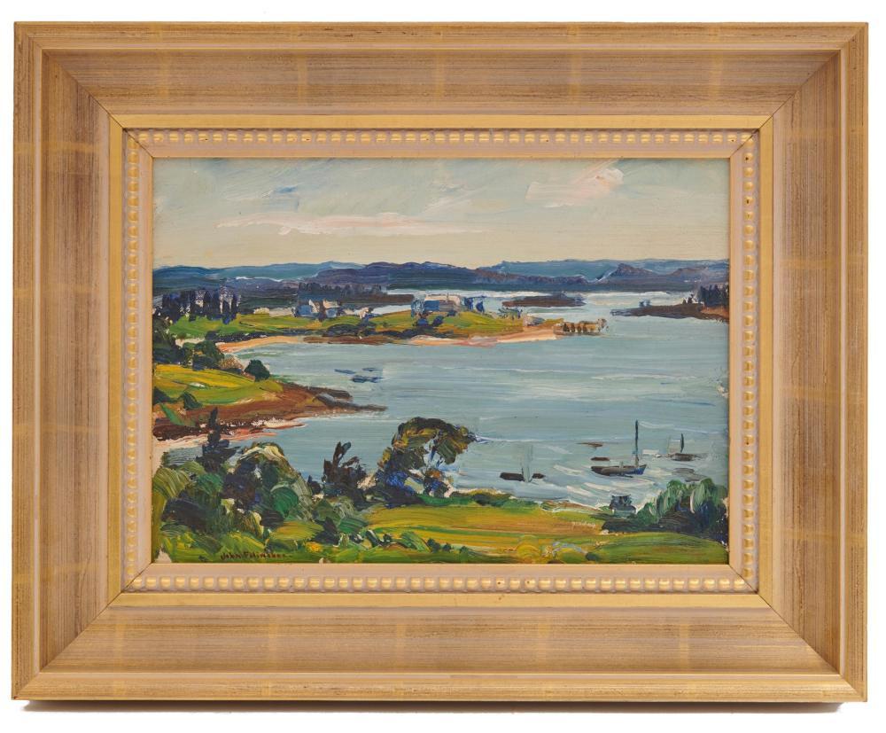 JOHN FULTON FOLINSBEE, (American, 1892-1972), Harbor View, oil on board, 9 1/2 x 13 1/2 in., frame: 15 1/2 x 19 1/2 in.