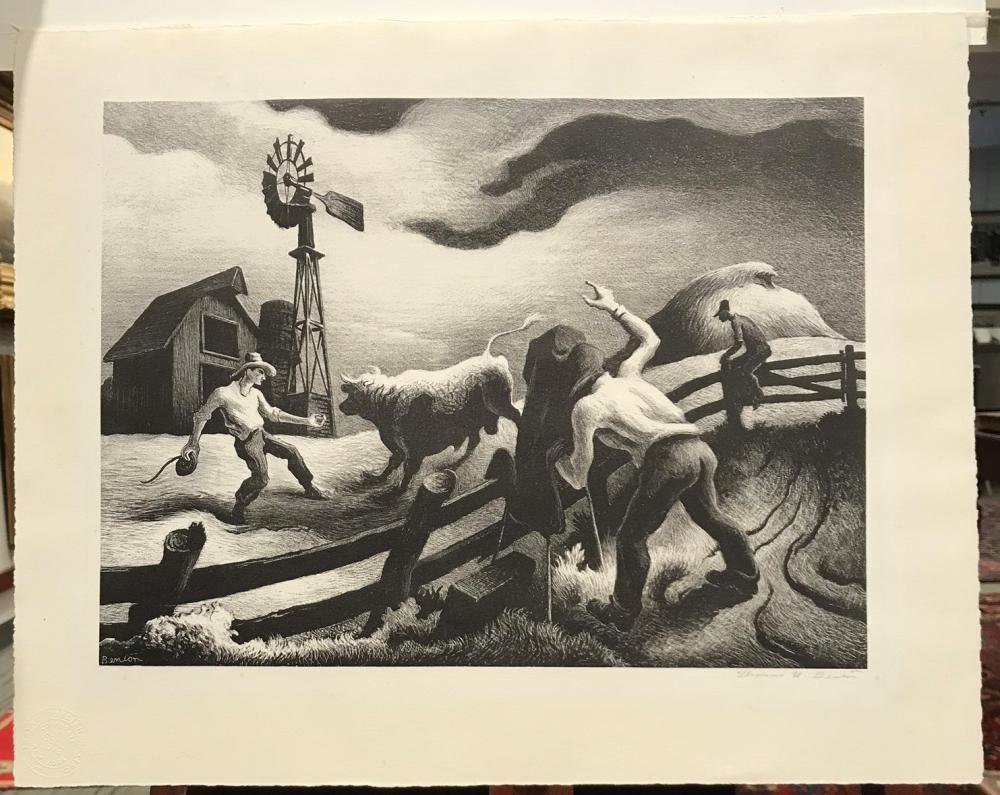 THOMAS HART BENTON, (American, 1889-1975), Photographing The Bull, lithograph, plate: 11 3/4 x 15 3/4 in., frame: 18 1/4 x 21 3/4 in.