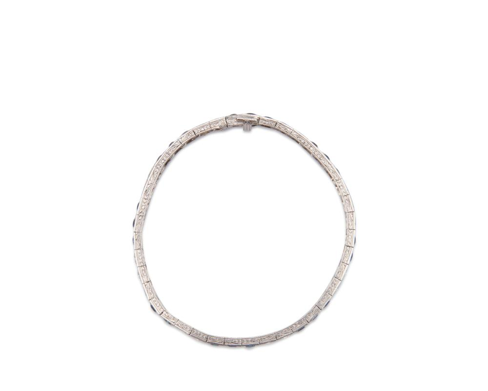 Platinum, Diamond, and Sapphire Line Bracelet
