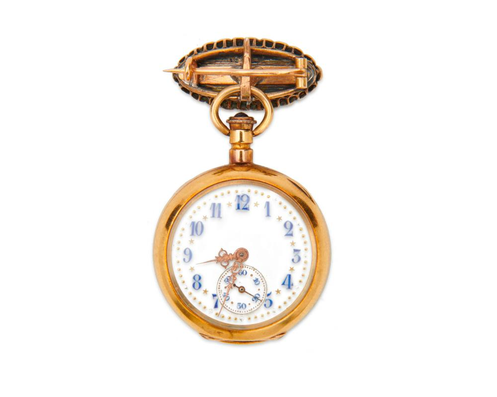 18K Gold and Sapphire Lapel Watch