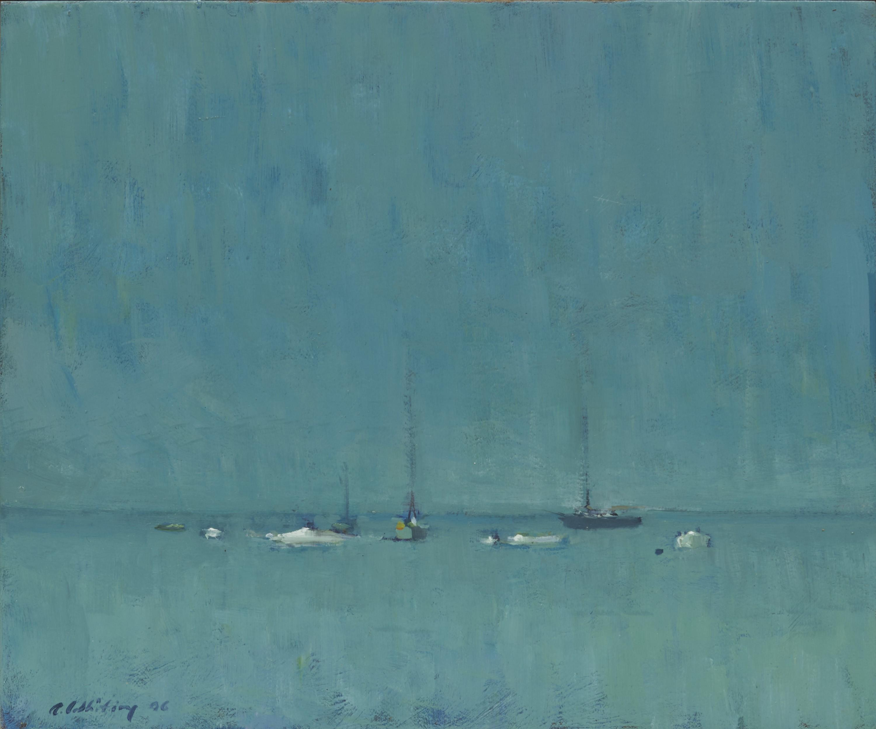 ALLEN WHITING, (American, b. 1946), Sailboats at Rest, Vineyard Haven, 2006, oil on board, 10 x 12 in., frame: 10 1/2 x 12 1/2 in.