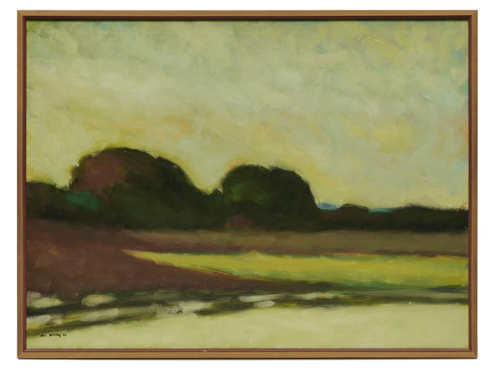 ALLEN WHITING, (American, b. 1946), Quitsa, Chilmark, 1996, oil on canvas, 36 x 48 in., frame: 37 1/2 x 49 1/2 in.