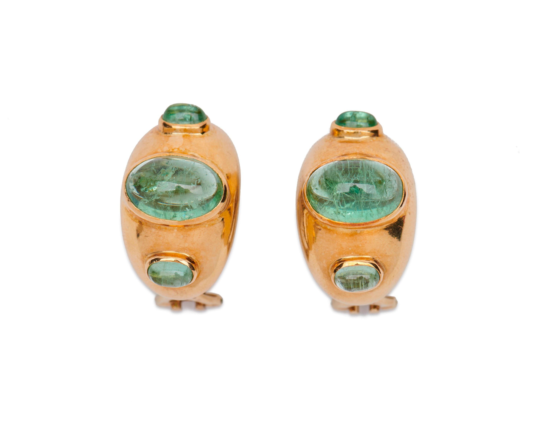 18K Gold and Aquamarine Earclips