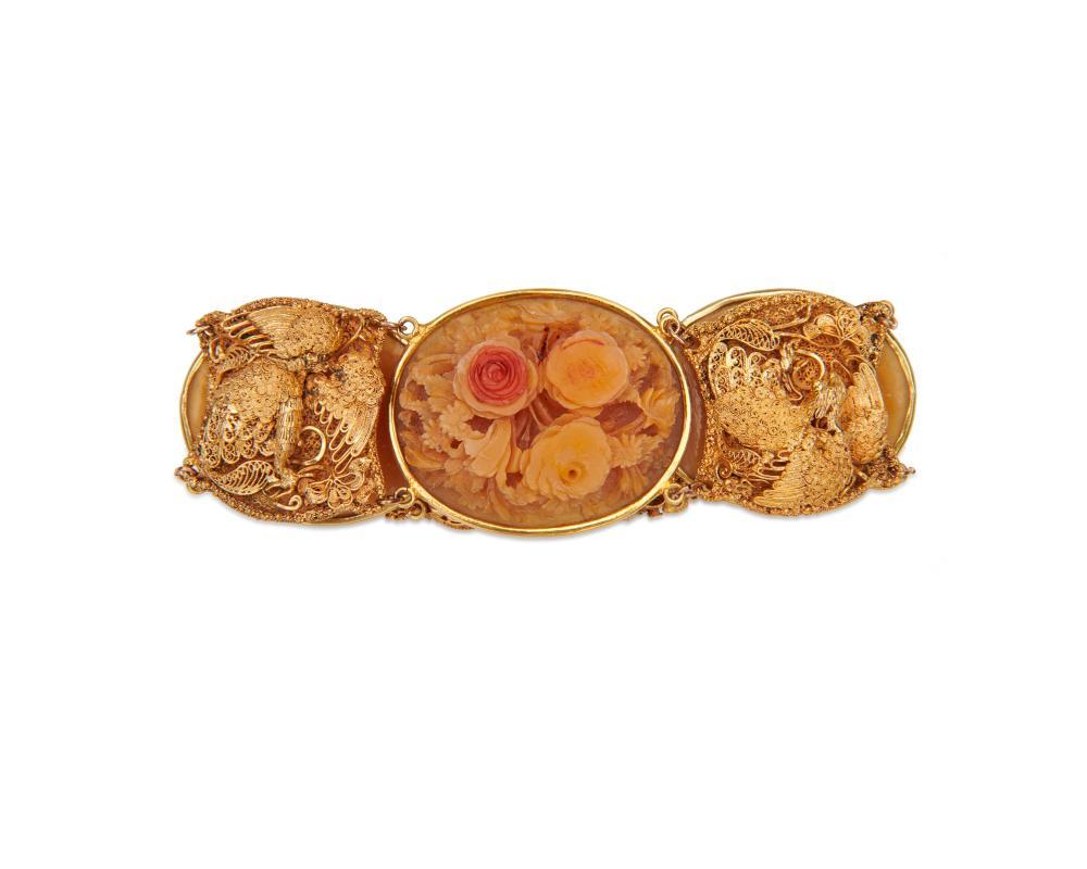 14K Gold Carved Bracelet