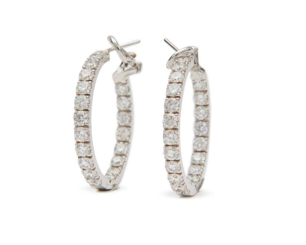 18K Gold and Diamond Hoop Earrings