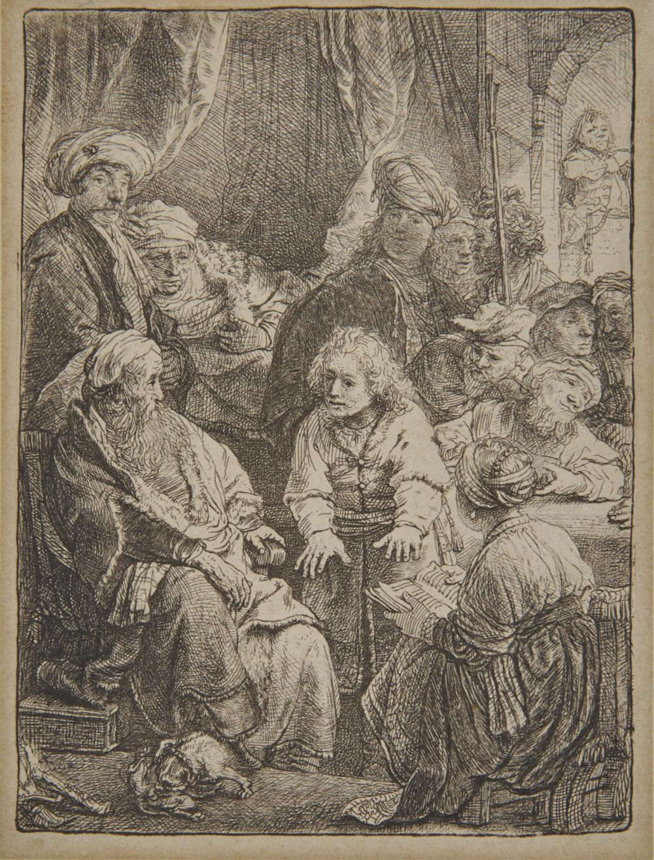 REMBRANDT VAN RIJN, (Dutch, 1606-1669), Joseph Telling His Dreams (H. 160), etching, 4 5/8 x 3 1/2 in.